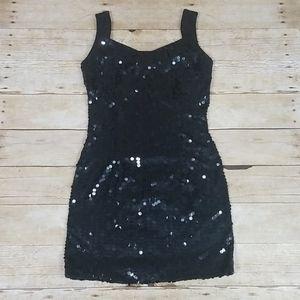 Vintage Nite Line Black Sequin Mini Dress